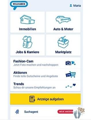 Screenshot: Startseite der Willhaben®-App