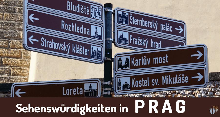 Hinweisschilder zu einigen der bedeutsamen Sehenswürdigkeiten in «Prag» {Reisetagebuch Prag}