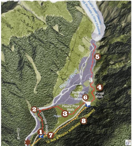 Wanderwege {Reisetagebuch «Roadtrip durch Neuseeland mit dem Bus»: «Franz Josef Gletscher}