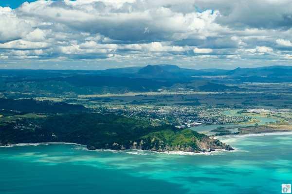 Blick auf Whakatāne aus der Vogelperspektive {Reisetagebuch «Roadtrip durch Neuseeland mit dem Bus»}