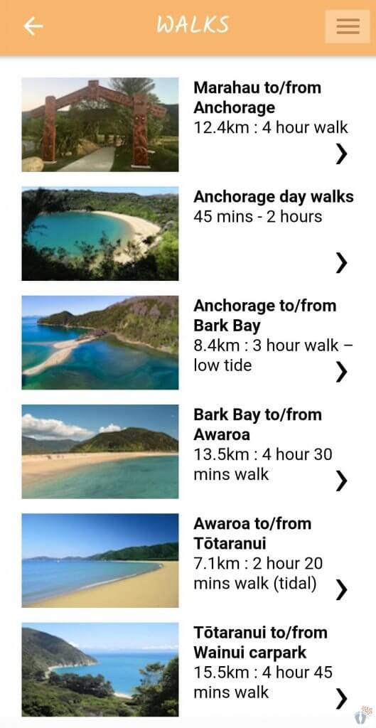 "Linksammlung für Neuseeland: Screenshot der App ""Abel Tasman National Park"""