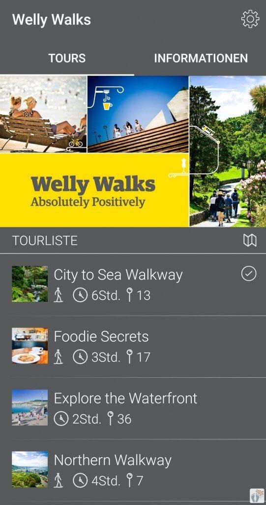"Linksammlung für Neuseeland: Screenshot der App ""Welly Walks"""