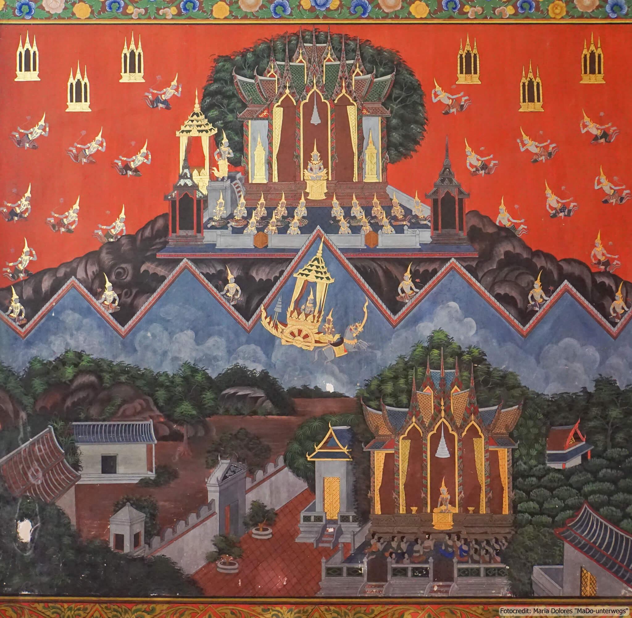 Wat Phanan Choeng in Ayutthaya - Wandbemalung (Reisetagebuch «Thailand als Alleinreisende ohne Roller entdecken»)