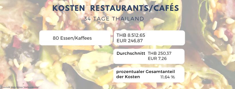 Kosten Restaurants/Cafés: 34 Tage Thailand Rundreise als Alleinreisende ohne Roller