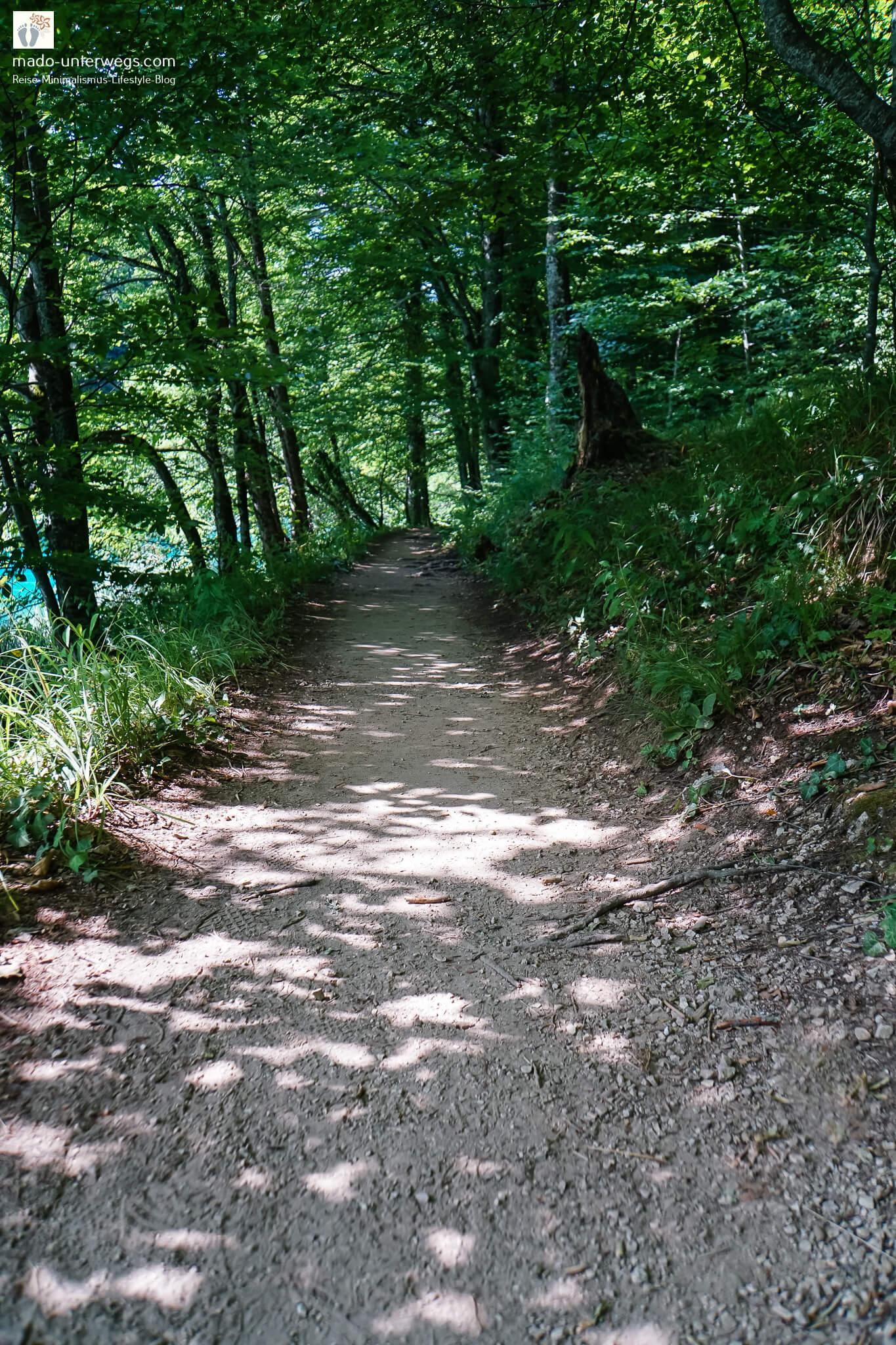 """Pfad der vom vorderen Bildrand nach hinten führt und von Bäumen umrandet wird; links leuchtet der Kozjak See durch; links oben Text """"mado-unterwegs.com"""""""