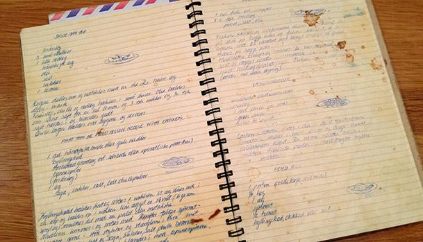Gammel dagbog med opskrifter