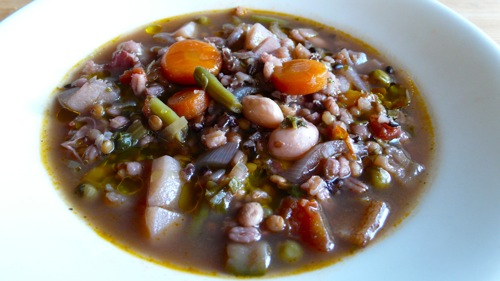a vegetarian minestrone with farro and black rice