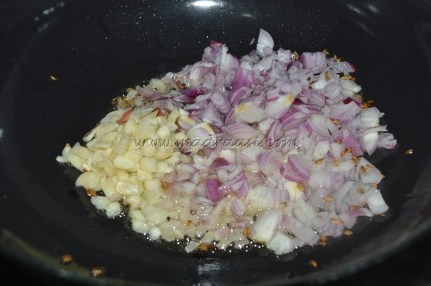 Getting cooked with onions and garlic