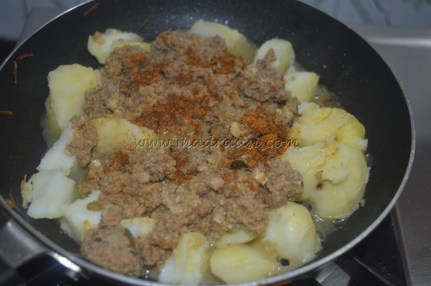 With boiled potatoes, minced meat curry and Eastern Beef Ullarthu Masala