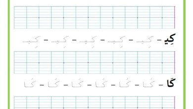 Photo of المراجعة اليومية للحروف ( ملف رقم 28) : حرف الكاف – تمارين خط