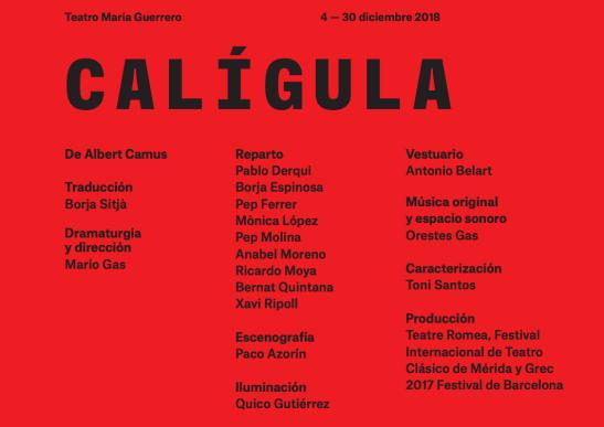 CALÍGULA , dirigida por Mario Gas, en el Teatro María Guerrero