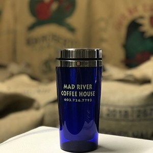 Mad River Coffee House blue travel mug