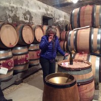 Ghislaine Barthod in her cellar with Blake