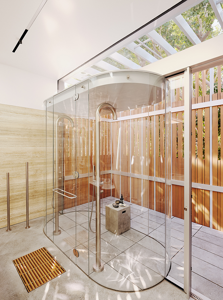 Fougeron Architecture curved glass shower by Supreme Glass