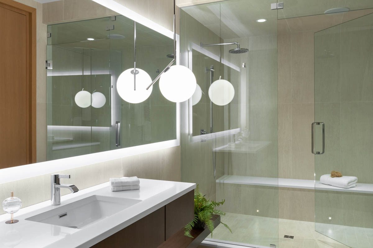 Madeleine Design Group Ocean Bluff Gym Bathroom