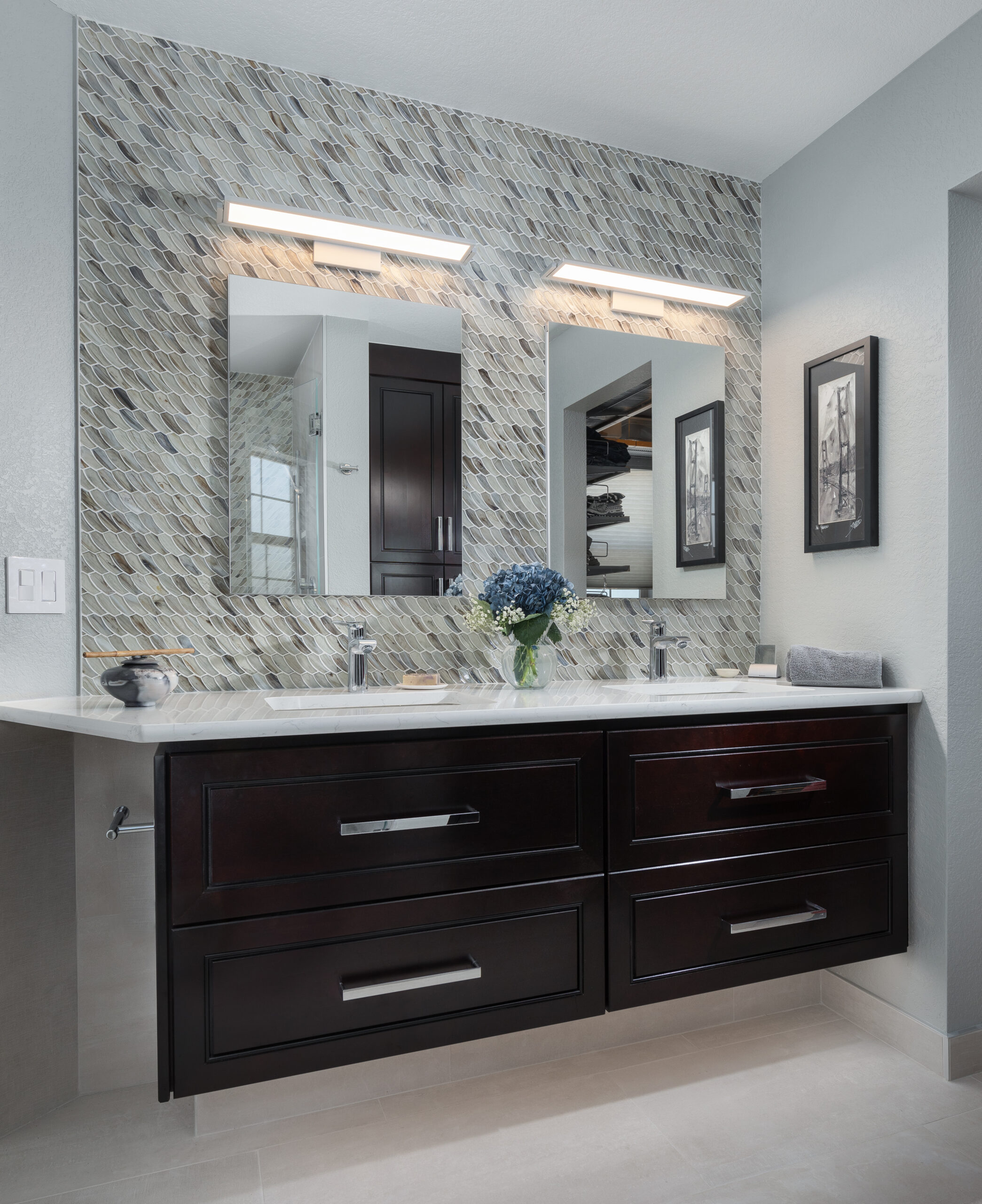 KE Interior Solutions floating vanities and shark fin tile