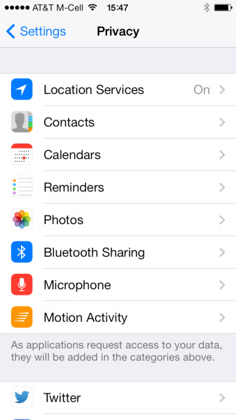 iPhone-settings Privacy