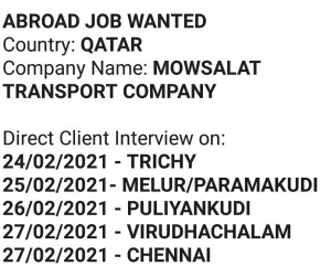 Qatar transport Job ( what's app fwd) click for details