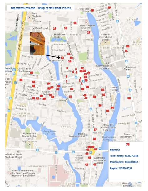 99 Expat Places Map of Gulshan