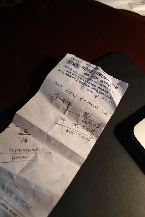 Hasan's number is on the receipt.