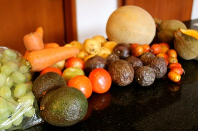 The array of fruit and vegetables from the market.