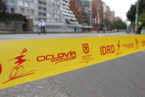 Ciclovia blocking access to Septima, the main road of Bogota.