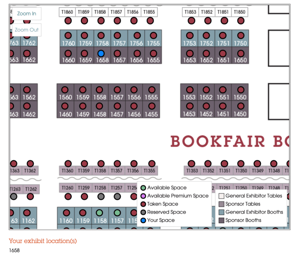 A close up of the AWP 2020 book fair map showing Madville's booth #1658 in Sponsors Row
