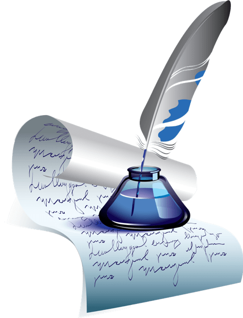 Quill and inkpot sitting on a document