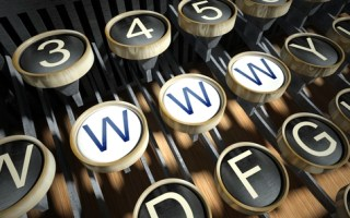 Old typewriter keyboard with www keys side-by-side