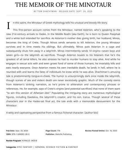 KIRKUS Review of The Memoir of the Minotaur by Tom Sachtman