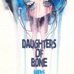 Daughters of Bone by Jessica Temple Cover. A waterpainted woman's face hangs upside down from the top of the image. Watercolor paint drips all the way down. Daughters of Bone, Poems, Jessica Temple is written in blue, all caps, sans serif. The text is deformed as if the water color drips made the ink run.