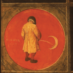 Terrible Sanity by Sam Pickering Cover. Image is a detail from a twelve-pane panel by Pieter Bruegel the Elder. A man urinates on a moon in a red circle. The text is stylized to look like it is a part of the panel.