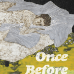 """Once Before Sunset by David Deutsch Cover. The image is an abstract painting of a young man looking at the """"camera"""" while laying on a messy bead in an untidy room. The text is a retro, distressed, san serif font in white."""