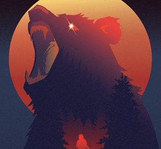 Fairview Chronicles (Vol. II): The Case of Josie White by Johnathan Paul, Illustrated by Andrew Dunn. A silhouette of a running woman is supermposed over a roaring bear with a moon behind it.