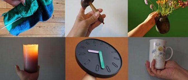 image of objects (knitting, darning mushroom, vase of flowers, candle, clock, mug)