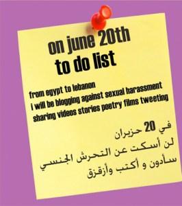 Gelber Post-It mit To-Do-Liste für den 20. Juni (auf Englisch und Arabisch) - Bloggen und Twittern gegen sexuelle Belästigung
