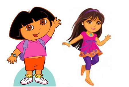 """Zwei Bilder von """"Dora the Explorer"""", einmal das alte Motiv eher kindlich und das neure Motiv deutlich dünner und jugendlicher"""