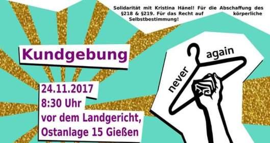 Kundgebung in Gießen, 24. November um 8:30 Uhr, vor dem Landgericht Ostanlage 15