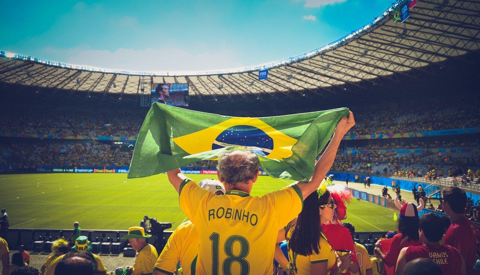 Jubelnder Fan im Fußballstadion