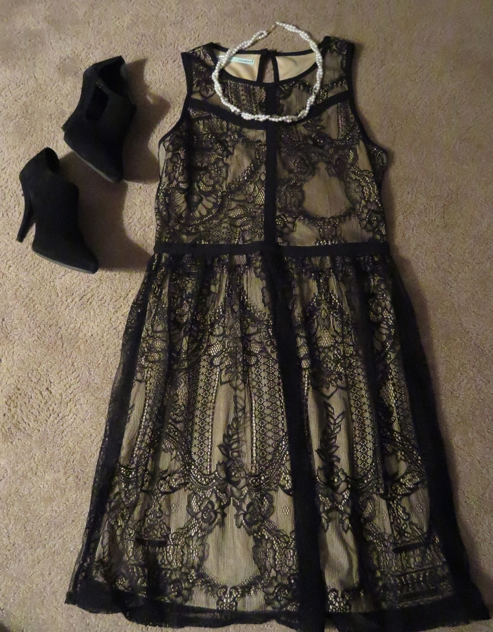 Black lace over tan dress with a sort of 1920's feel from Maurice's. White and black pearl necklace from my grandma. Black Audrey Brooke heel from DSW.