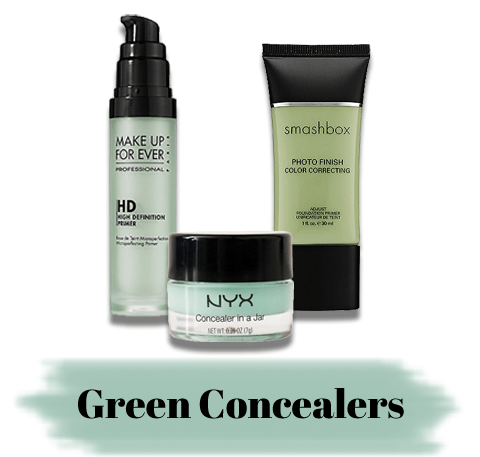 Consider these:NYX Concealer in a Jar in Green/Smashbox Photo Finish Color Correcting Primer/Make Up For Ever HD Primer