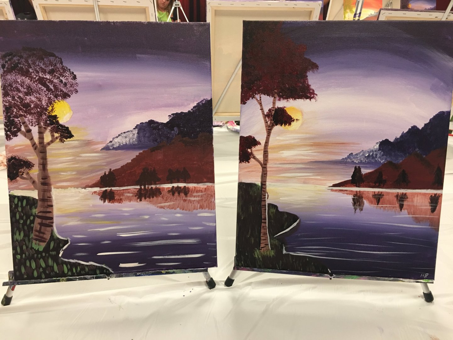 Lucy's painting on left & mine on right