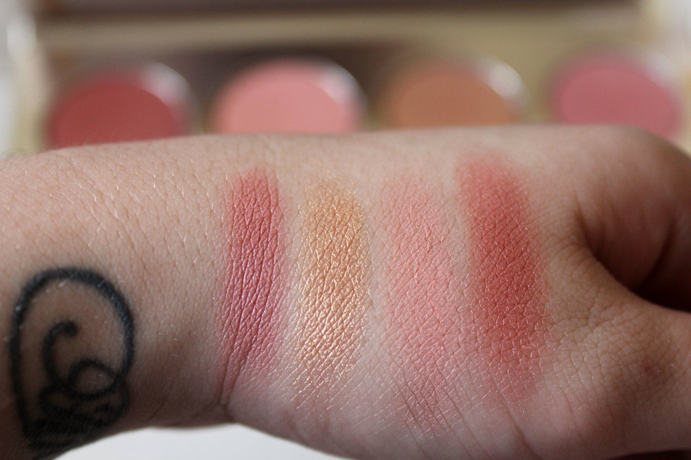 Swatches from Left to Right: See Beyond, Fearless, Enchanted and Rose.