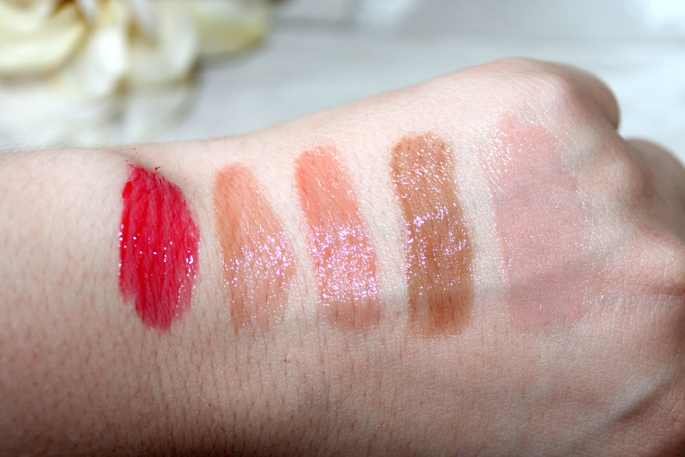 Swatches from Left to Right: Red Rose, Belle-ieve, Savoir Faire, Tres Chic, and True Beauty.
