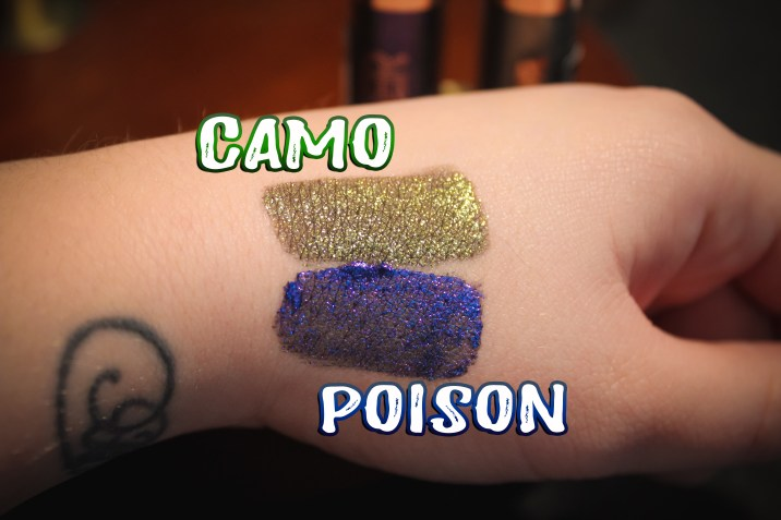 Flower Beauty Warrior Glitter Shadow Camo and Poison Swatches
