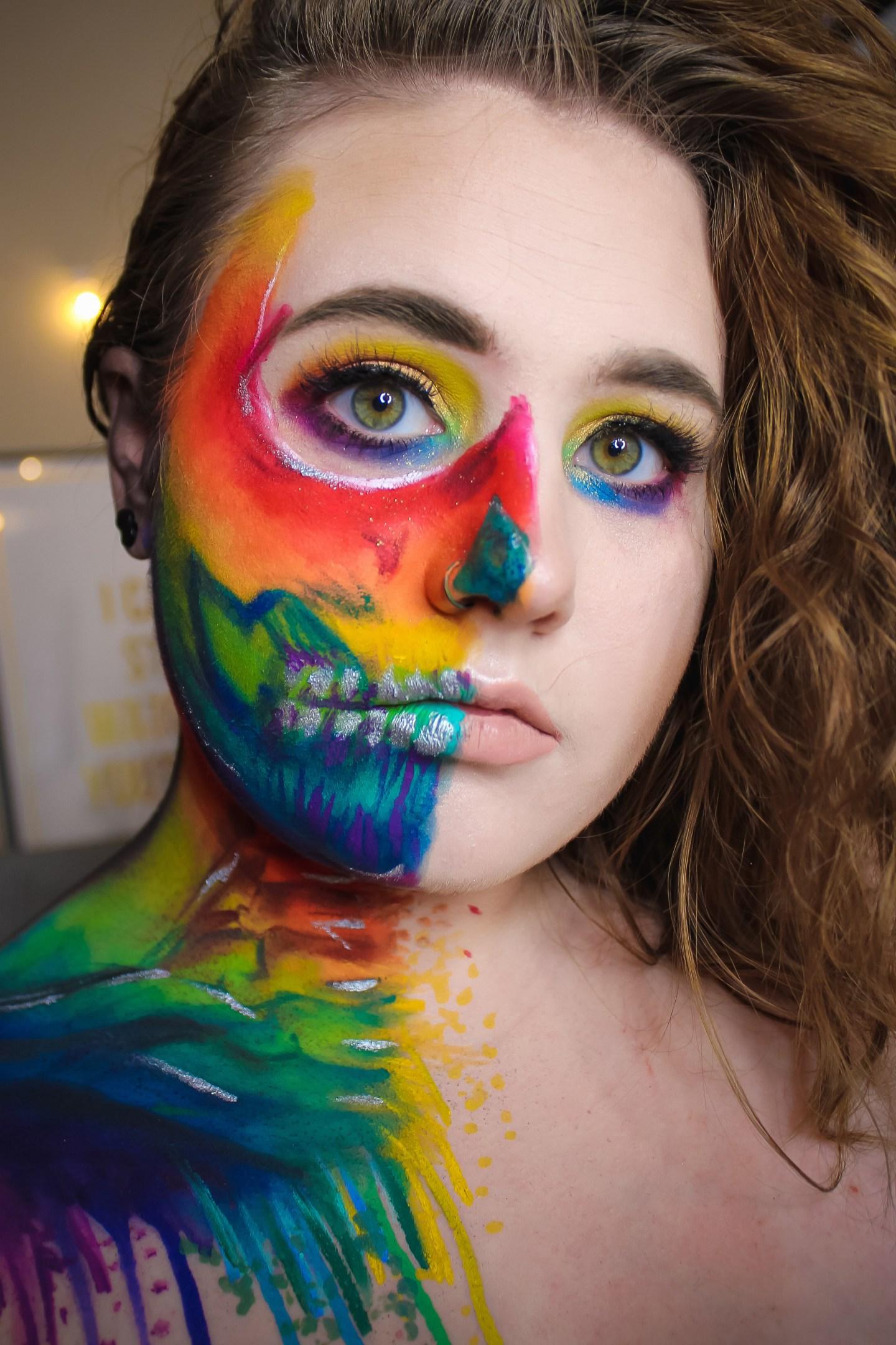 Rainbow Splatter Skull | Vanessa Davis & James Charles Inspired Makeup Look 5