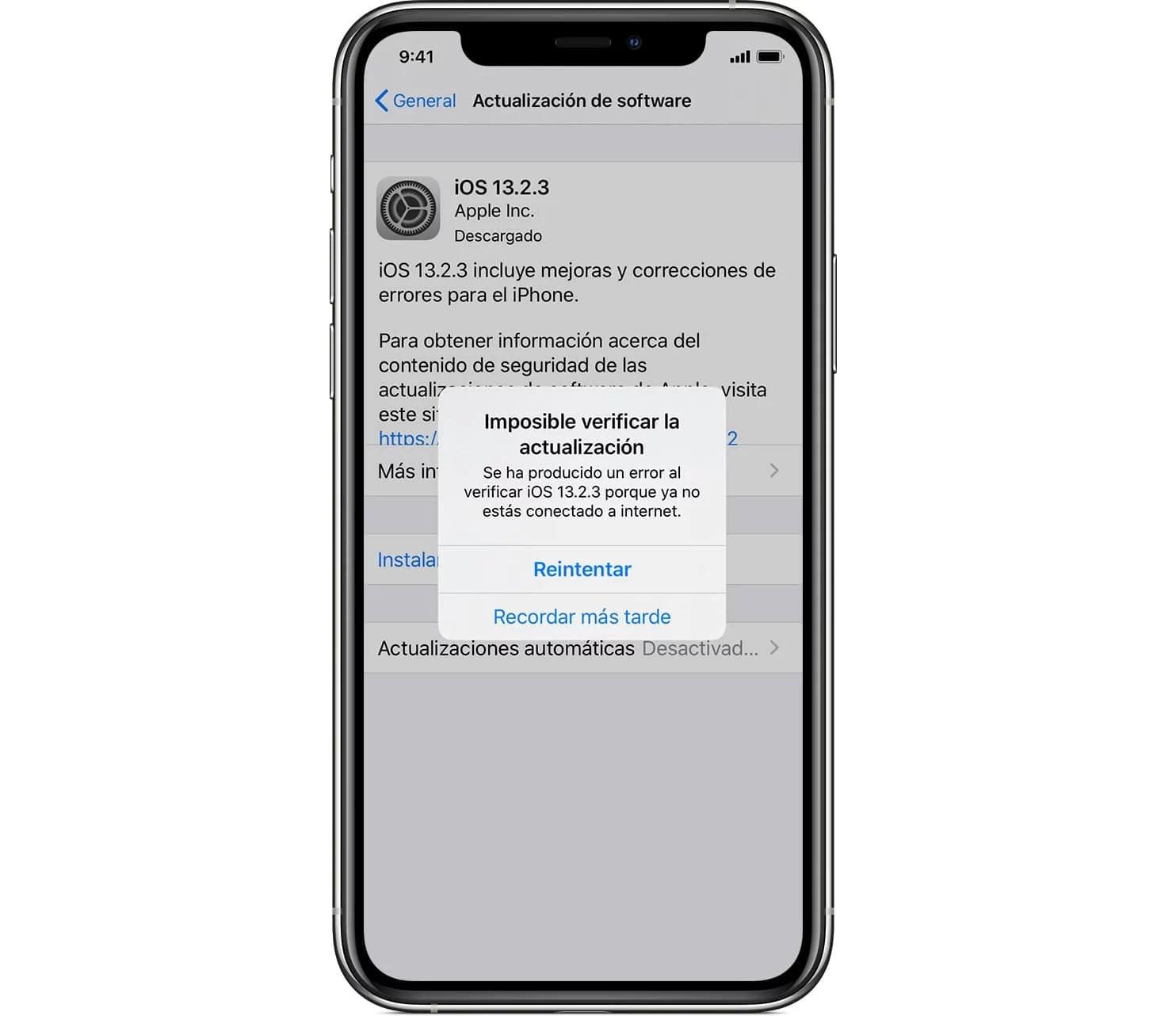 Error de actualización iOS