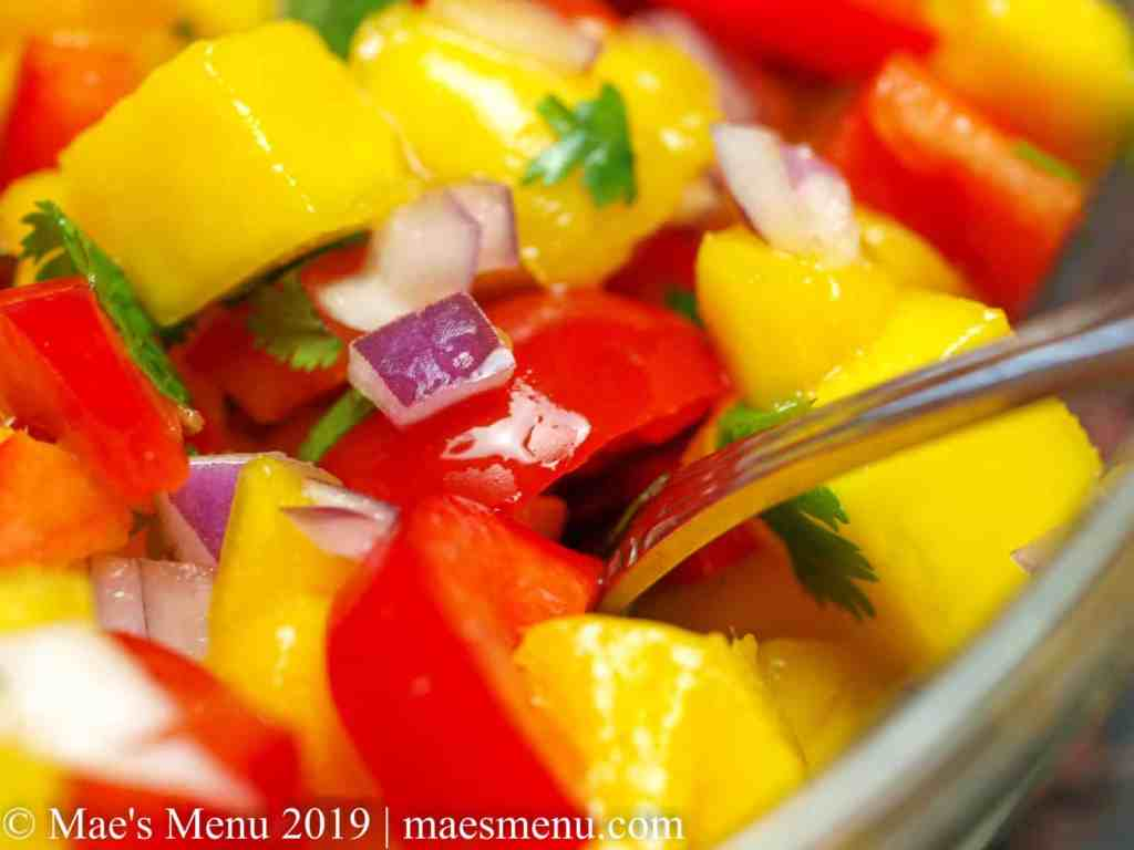 Up-close of mango salsa.