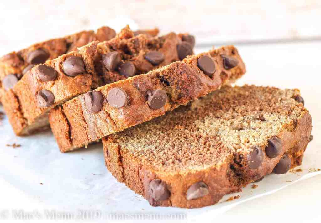 Up close of slices of Marbled Chocolate Peanut Butter Banana Bread