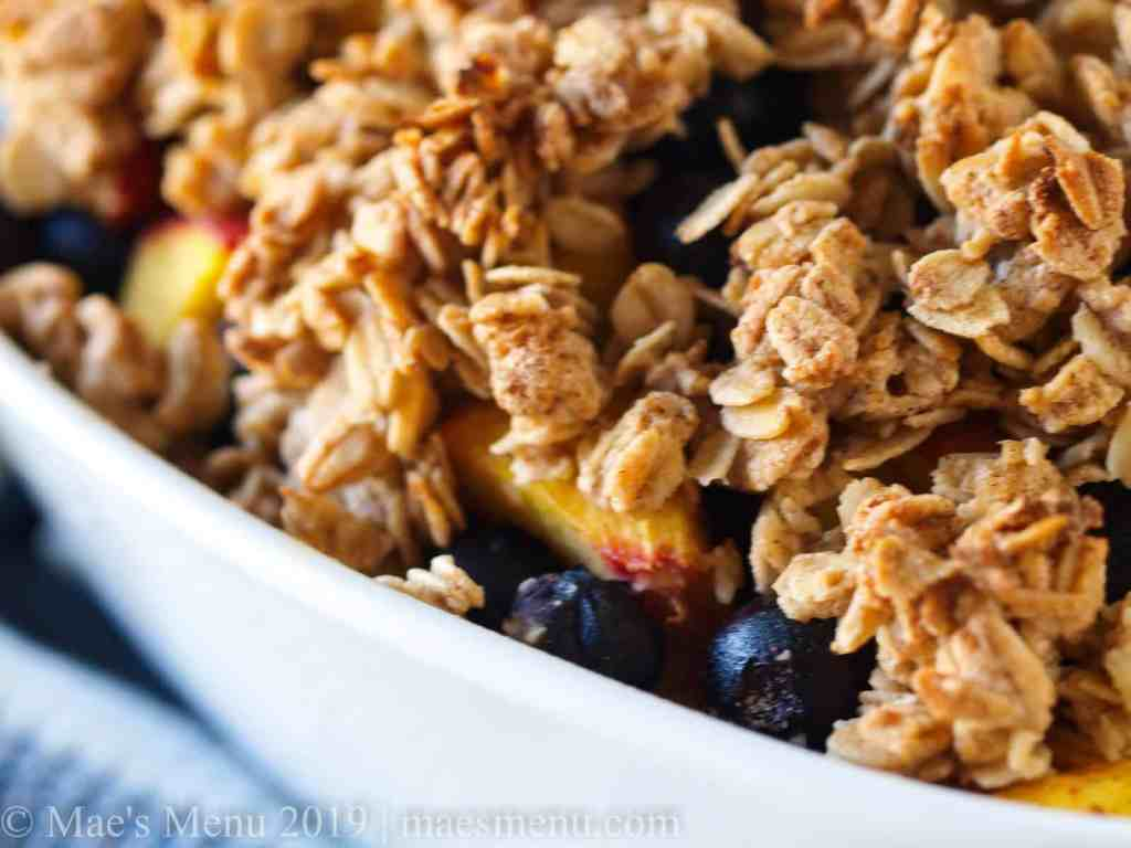 Up-close of Healthy Blueberry Peach Crumble.